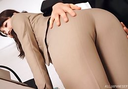 Aroused office beauty needs cock in both holes