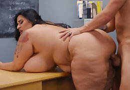 Sultry BBW teacher copulates with pupil's naughty father