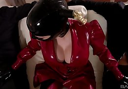 Good-luck piece age-old carrier bag Lucy Latex fucked added to facialized more a MMF troika
