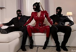 dirty latex threesome with the dominant woman together with her clear the way slaved
