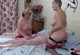 Team a few mature whores treat his dick to a threesome