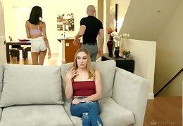 Noxious girl Kasey Miller tricks and fucks blind folded sister's boyfriend
