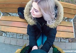 Naughty Russian teen Eva Elfie gives a blowjob regarding public for money