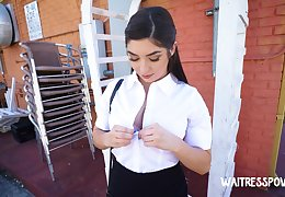 Lovable waitress Keira Croft flashes her bum and enjoys sensual doggy