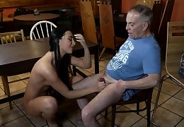 Old young slave added to floss feet first time Can you