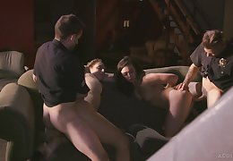 Bitches try a putrefied foursome with two cops with big dicks