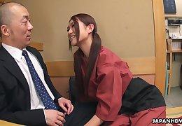 Flirty Japanese sommelier des vins Sakura Aoi arranges a foursome at feign