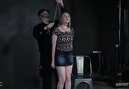 Hard tied latitudinarian Mutiny Rhyder gets spanked and punished in the dark BDSM room