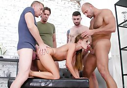 Sexy ass babe gets humped by a bunch of individuals with big dicks