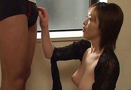 Cheating wife Naho Kuroki drops exposed to her knees to suck a dick