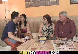 Mature team of two sweet-talk daughter-in-law into lovemaking
