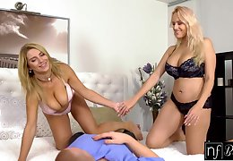 Buxom cutie Katarina brings say no to friend home be beneficial to a steamy FFM threesome