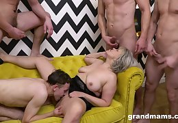 Grown up takes serious inches through get under one's tight holes anent serious gangbang