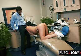 Smoking hot brunette with big tits is having hardcore sex with her seductive dentist, regarding his office