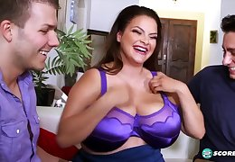 Threesome hardcore anent busty brunette mature fatty and two young studs