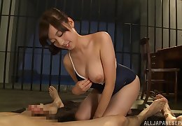 Asian girl Fujii Arisa with perfect set be required of tits fucked by two guys